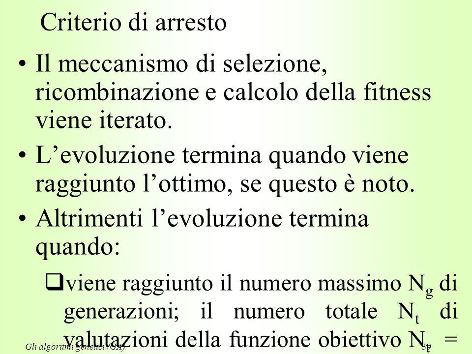 39 Criterio di arresto Il meccanismo di selezione, ricombinazione e calcolo della fitness viene iterato.