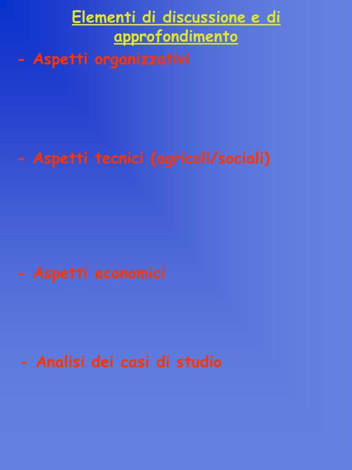 - Aspetti organizzativi Elementi di discussione e di approfondimento - Analisi dei casi di studio - Aspetti tecnici (agricoli/sociali) - Aspetti economici