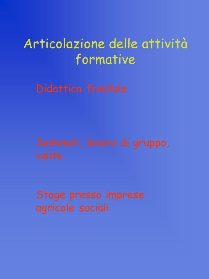Articolazione delle attività formative Didattica frontale Seminari, lavoro di gruppo, visite Stage presso imprese agricole sociali