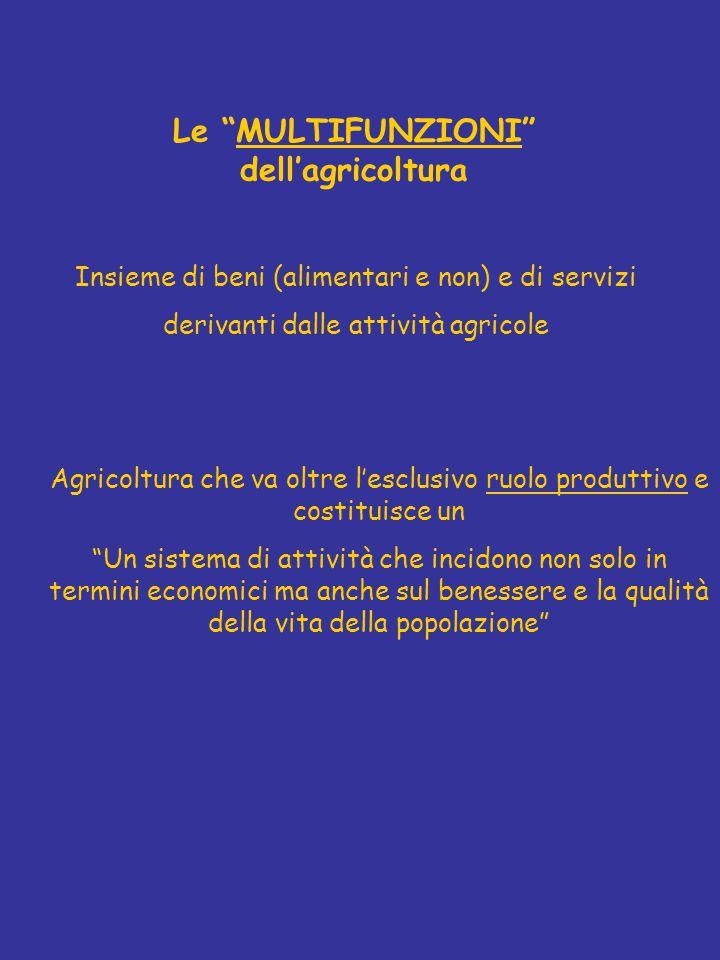 Le MULTIFUNZIONI dell'agricoltura Insieme di beni (alimentari e non) e di servizi derivanti dalle attività agricole Agricoltura che va oltre l'esclusivo ruolo produttivo e costituisce un Un sistema di attività che incidono non solo in termini economici ma anche sul benessere e la qualità della vita della popolazione