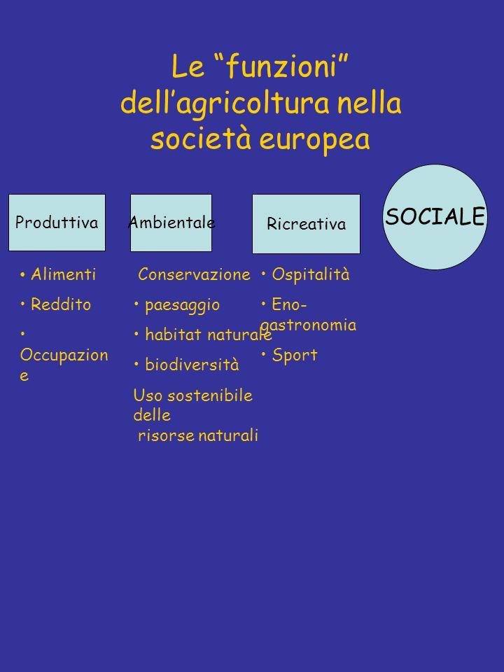Le funzioni dell'agricoltura nella società europea Produttiva Alimenti Reddito Occupazion e Ambientale Ricreativa Ospitalità Eno- gastronomia Sport SOCIALE Conservazione paesaggio habitat naturale biodiversità Uso sostenibile delle risorse naturali