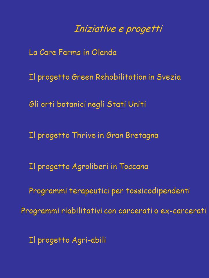 Iniziative e progetti La Care Farms in Olanda Il progetto Green Rehabilitation in Svezia Gli orti botanici negli Stati Uniti Il progetto Agri-abili Il progetto Agroliberi in Toscana Programmi riabilitativi con carcerati o ex-carcerati Programmi terapeutici per tossicodipendenti Il progetto Thrive in Gran Bretagna