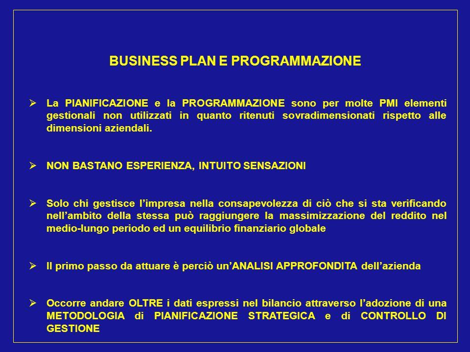 BUSINESS PLAN E PROGRAMMAZIONE  La PIANIFICAZIONE e la PROGRAMMAZIONE sono per molte PMI elementi gestionali non utilizzati in quanto ritenuti sovrad