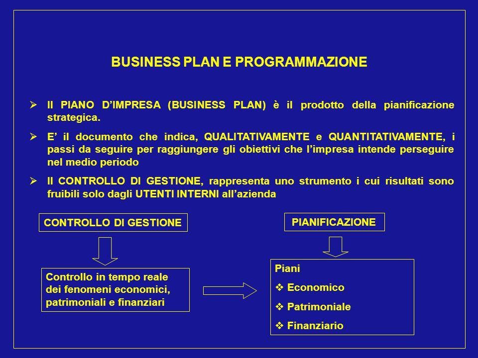 BUSINESS PLAN E PROGRAMMAZIONE  Il PIANO D'IMPRESA (BUSINESS PLAN) è il prodotto della pianificazione strategica.  E' il documento che indica, QUALI