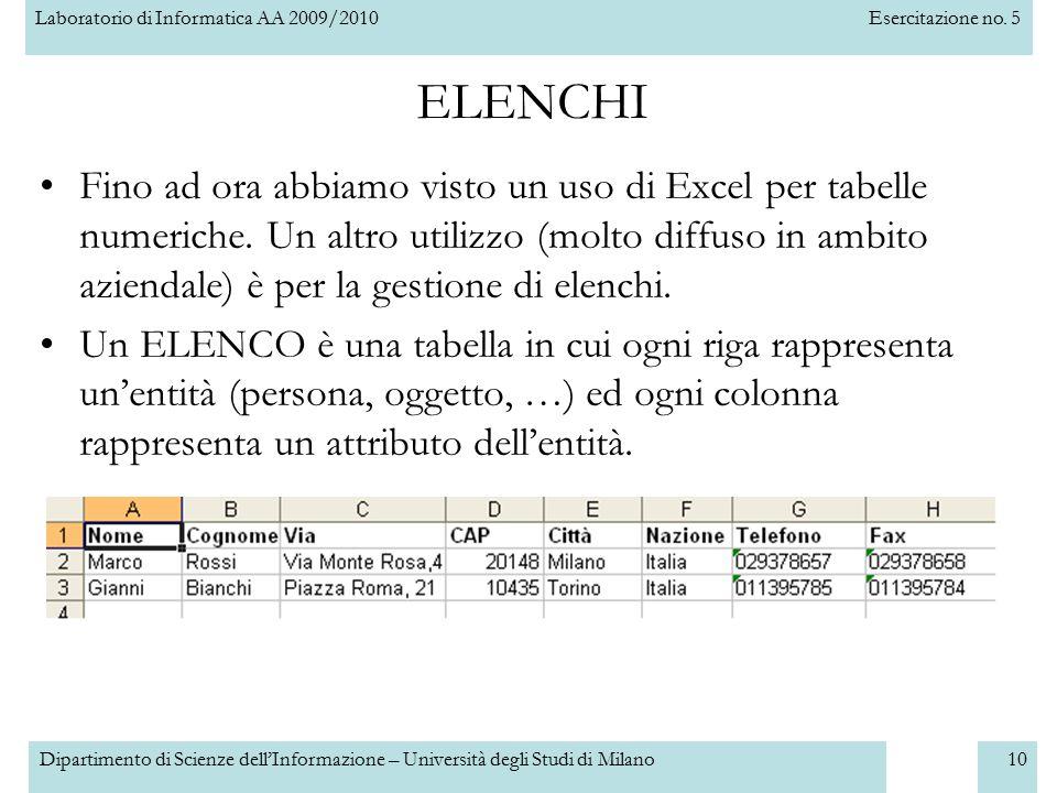 Laboratorio di Informatica AA 2009/2010Esercitazione no. 5 Dipartimento di Scienze dell'Informazione – Università degli Studi di Milano10 ELENCHI Fino