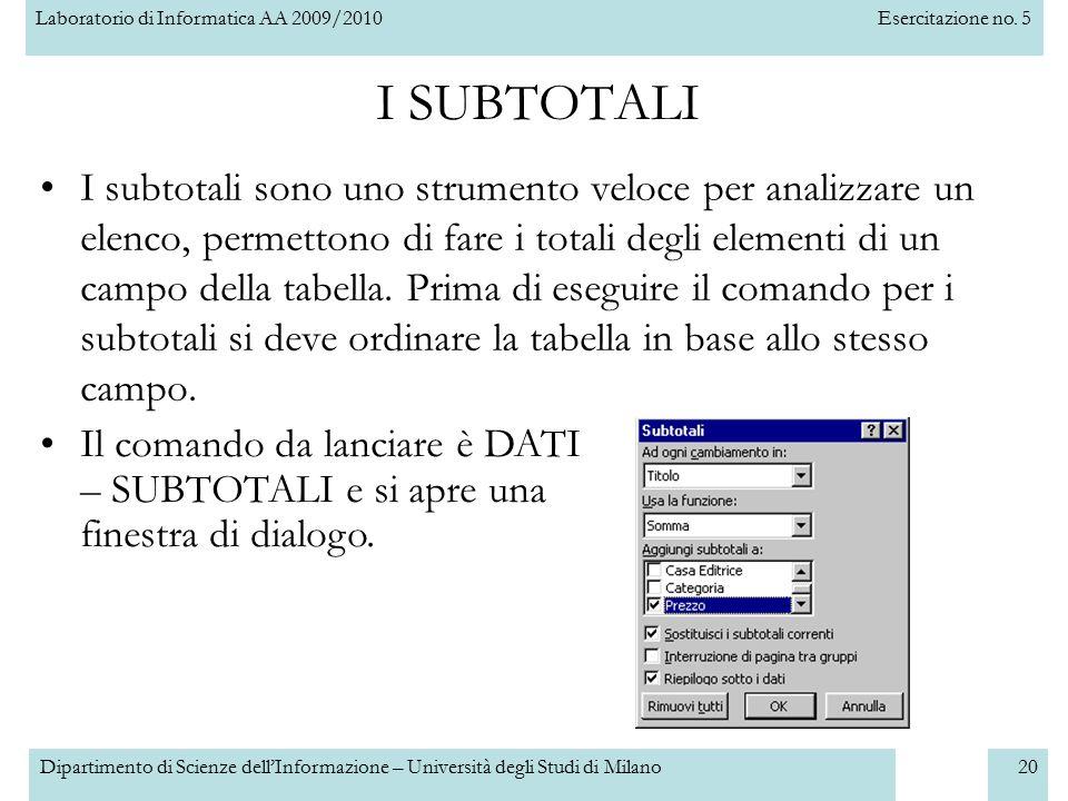 Laboratorio di Informatica AA 2009/2010Esercitazione no. 5 Dipartimento di Scienze dell'Informazione – Università degli Studi di Milano20 I SUBTOTALI