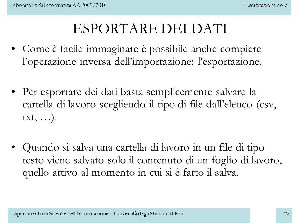 Laboratorio di Informatica AA 2009/2010Esercitazione no. 5 Dipartimento di Scienze dell'Informazione – Università degli Studi di Milano22 ESPORTARE DE