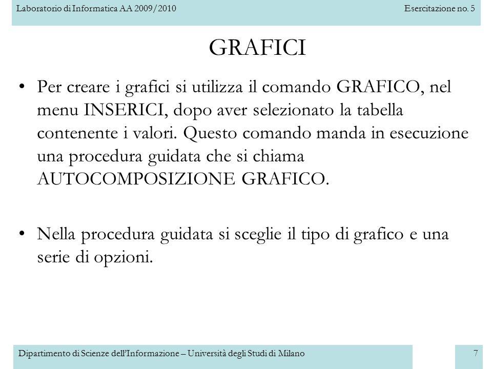 Laboratorio di Informatica AA 2009/2010Esercitazione no. 5 Dipartimento di Scienze dell'Informazione – Università degli Studi di Milano7 Per creare i