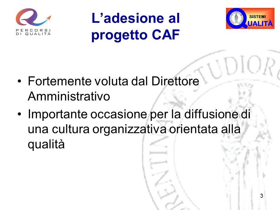 3 L'adesione al progetto CAF Fortemente voluta dal Direttore Amministrativo Importante occasione per la diffusione di una cultura organizzativa orientata alla qualità