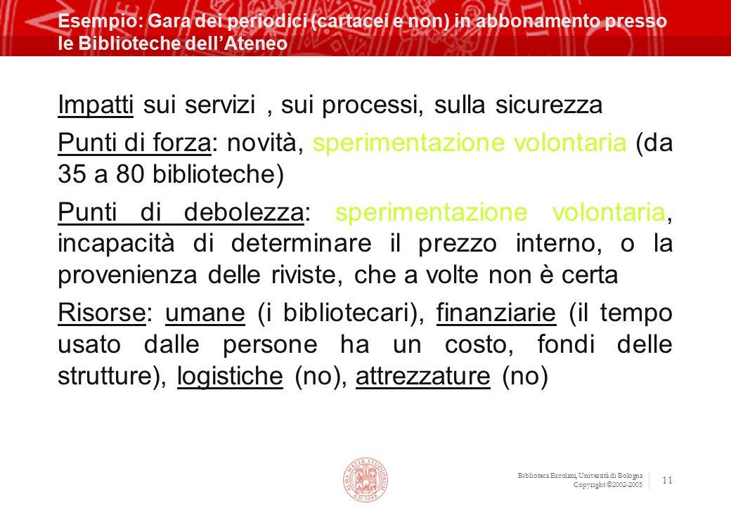 Biblioteca Ercolani, Università di Bologna Copyright ©2002-2005 11 Esempio: Gara dei periodici (cartacei e non) in abbonamento presso le Biblioteche d