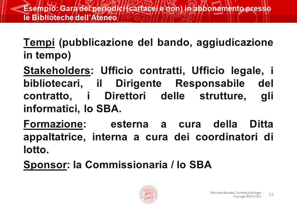 Biblioteca Ercolani, Università di Bologna Copyright ©2002-2005 12 Esempio: Gara dei periodici (cartacei e non) in abbonamento presso le Biblioteche d