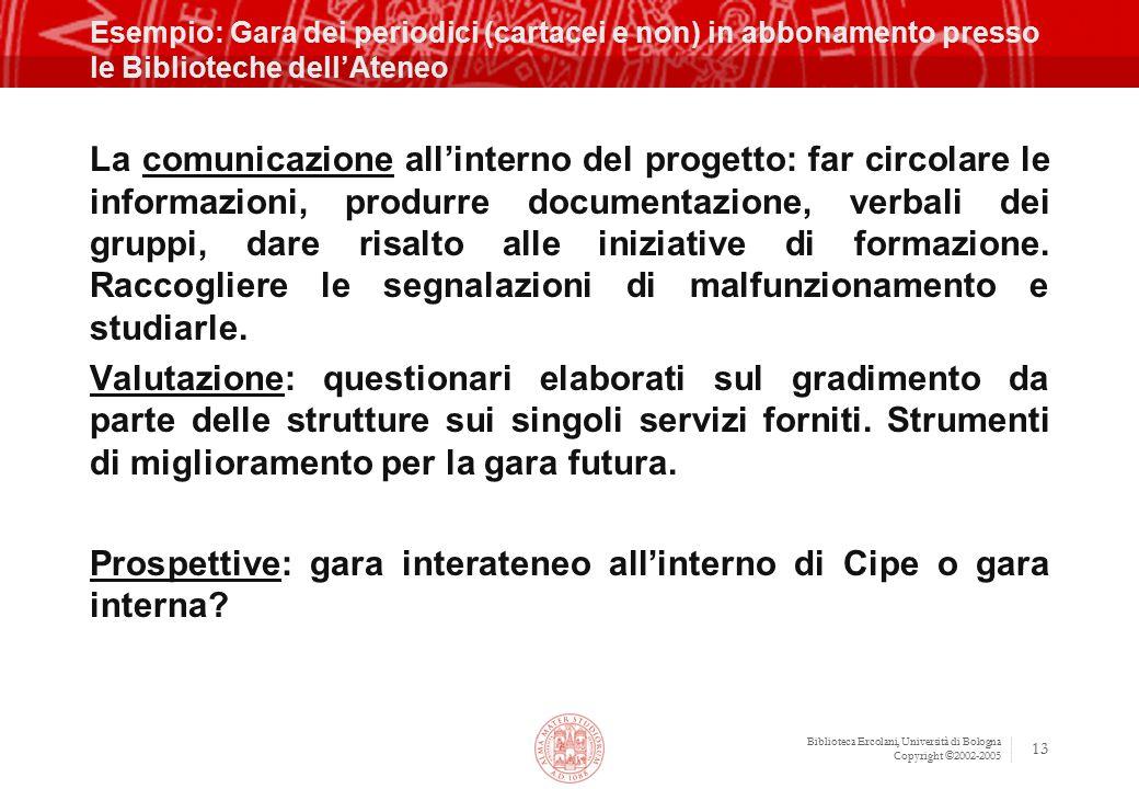 Biblioteca Ercolani, Università di Bologna Copyright ©2002-2005 13 Esempio: Gara dei periodici (cartacei e non) in abbonamento presso le Biblioteche d