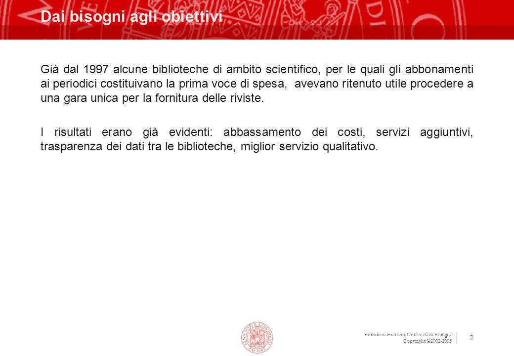 Biblioteca Ercolani, Università di Bologna Copyright ©2002-2005 2 Dai bisogni agli obiettivi Già dal 1997 alcune biblioteche di ambito scientifico, pe