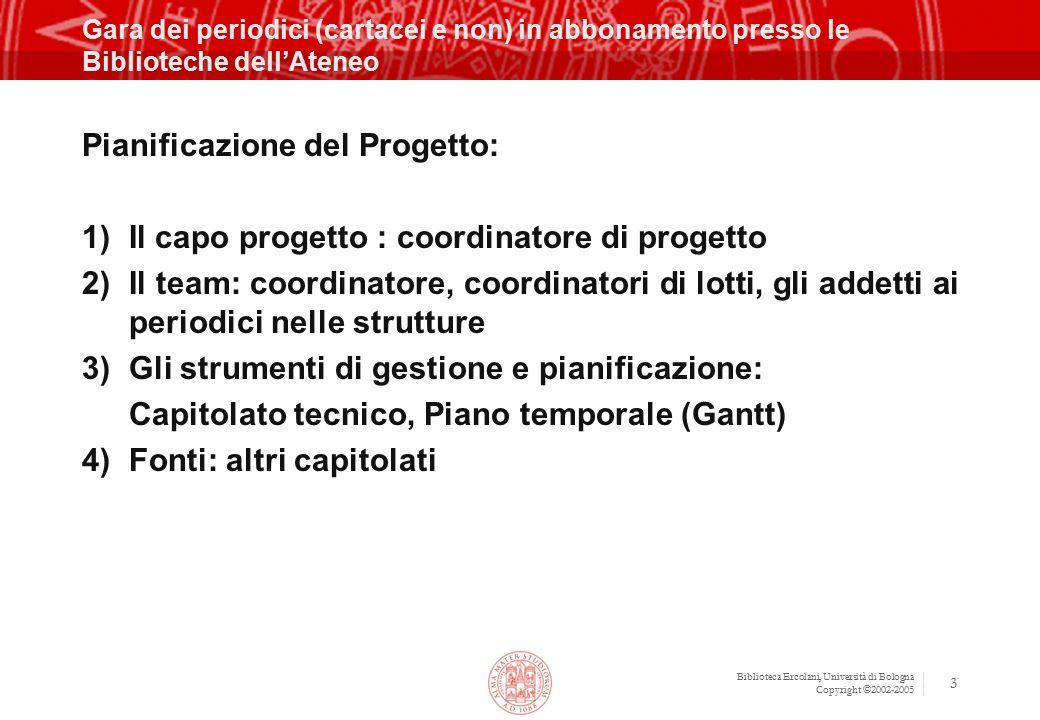 Biblioteca Ercolani, Università di Bologna Copyright ©2002-2005 14 Strumenti software