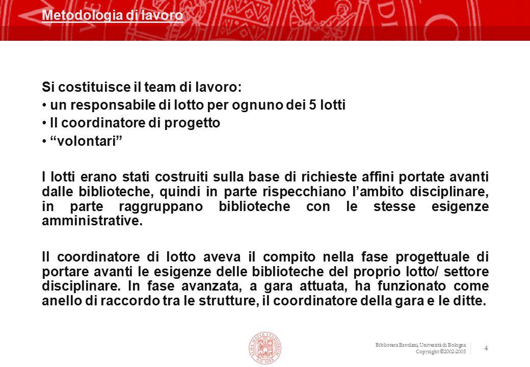 Biblioteca Ercolani, Università di Bologna Copyright ©2002-2005 4 Metodologia di lavoro Si costituisce il team di lavoro: un responsabile di lotto per