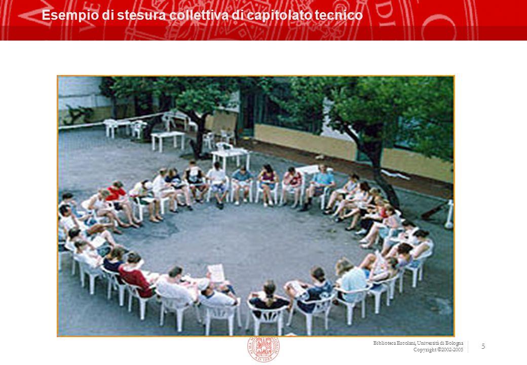 Biblioteca Ercolani, Università di Bologna Copyright ©2002-2005 6 Soluzioni adottate Gara comunitaria (pubblico incanto) durata 2002-2004 prorogata poi per altri 2 anni (fino al 2006 compreso)