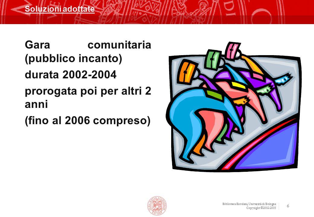 Biblioteca Ercolani, Università di Bologna Copyright ©2002-2005 6 Soluzioni adottate Gara comunitaria (pubblico incanto) durata 2002-2004 prorogata po