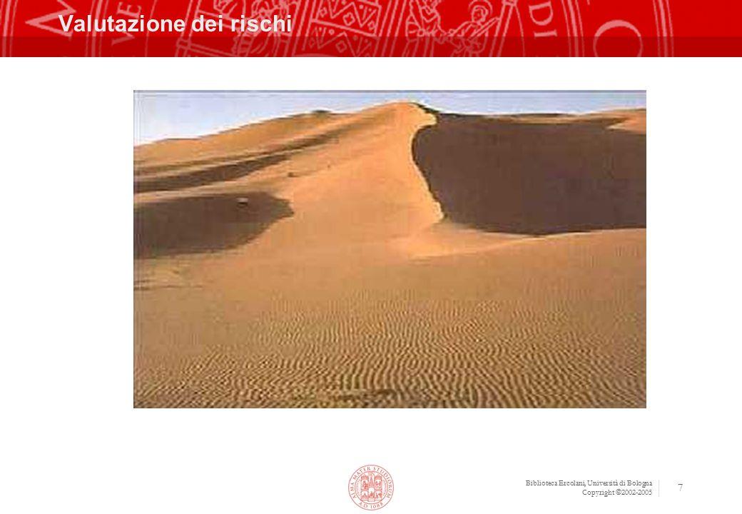 Biblioteca Ercolani, Università di Bologna Copyright ©2002-2005 8 Valutazione e previsione dei Rischi Gara deserta Percentuale alta Aggiudicazione a Ditta non all'altezza