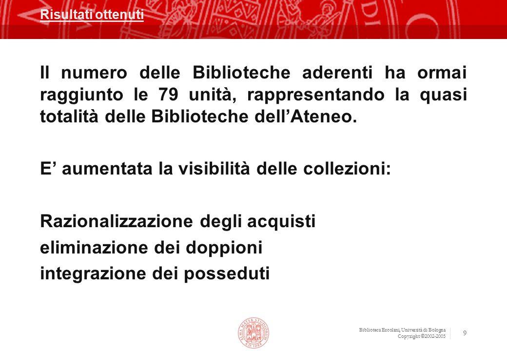 Biblioteca Ercolani, Università di Bologna Copyright ©2002-2005 9 Risultati ottenuti Il numero delle Biblioteche aderenti ha ormai raggiunto le 79 uni