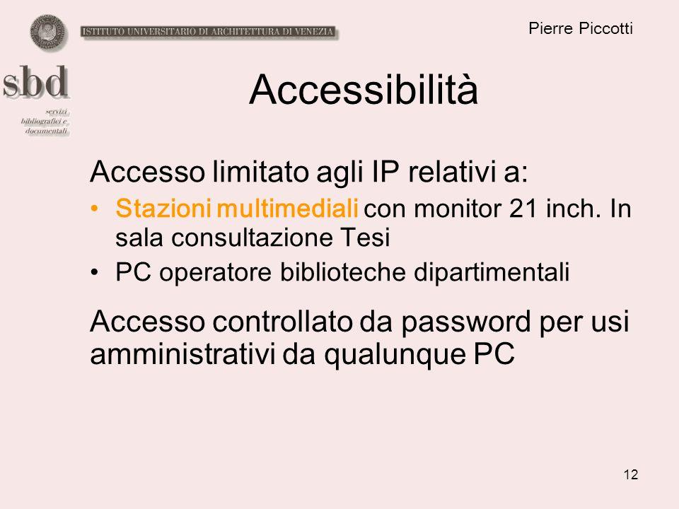 12 Pierre Piccotti Accessibilità Accesso limitato agli IP relativi a: Stazioni multimediali con monitor 21 inch. In sala consultazione Tesi PC operato