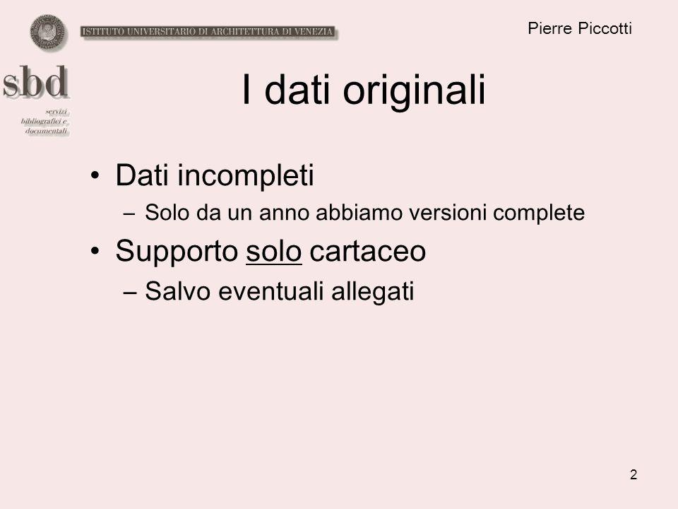 2 Pierre Piccotti I dati originali Dati incompleti –Solo da un anno abbiamo versioni complete Supporto solo cartaceo –Salvo eventuali allegati