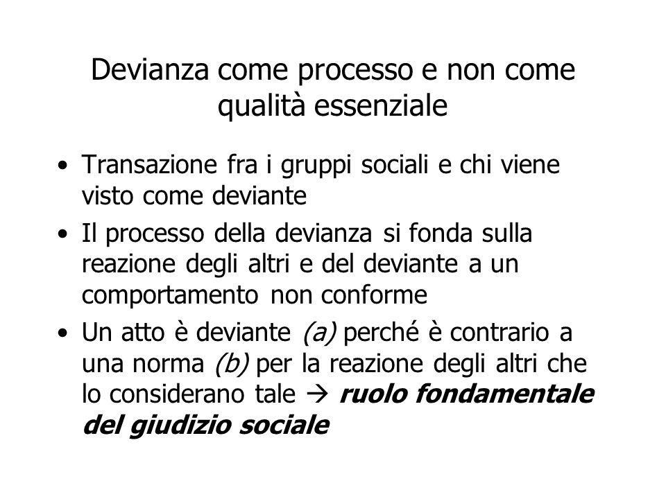 Devianza come processo e non come qualità essenziale Transazione fra i gruppi sociali e chi viene visto come deviante Il processo della devianza si fo
