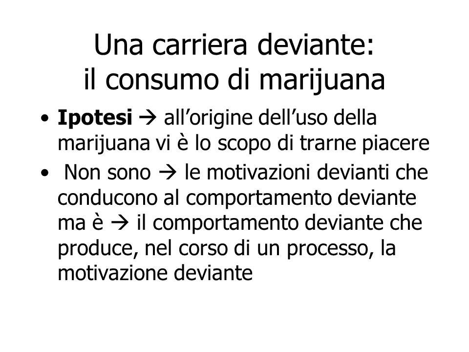 Una carriera deviante: il consumo di marijuana Ipotesi  all'origine dell'uso della marijuana vi è lo scopo di trarne piacere Non sono  le motivazion