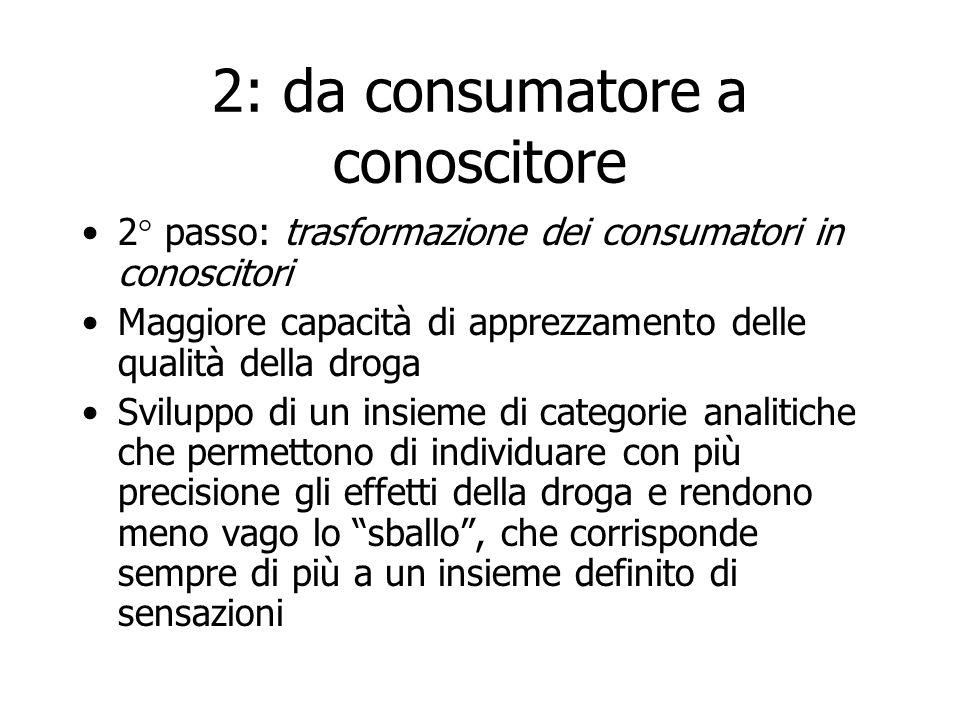 2: da consumatore a conoscitore 2° passo: trasformazione dei consumatori in conoscitori Maggiore capacità di apprezzamento delle qualità della droga S