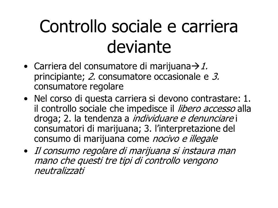 Controllo sociale e carriera deviante Carriera del consumatore di marijuana  1. principiante; 2. consumatore occasionale e 3. consumatore regolare Ne