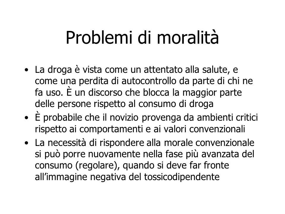 Problemi di moralità La droga è vista come un attentato alla salute, e come una perdita di autocontrollo da parte di chi ne fa uso. È un discorso che