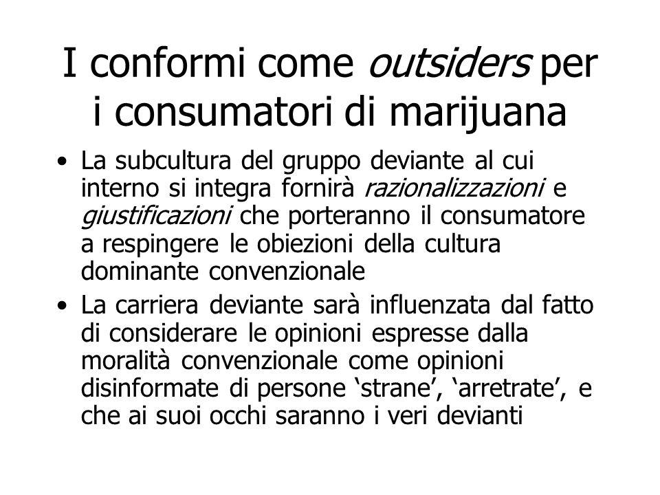 I conformi come outsiders per i consumatori di marijuana La subcultura del gruppo deviante al cui interno si integra fornirà razionalizzazioni e giust