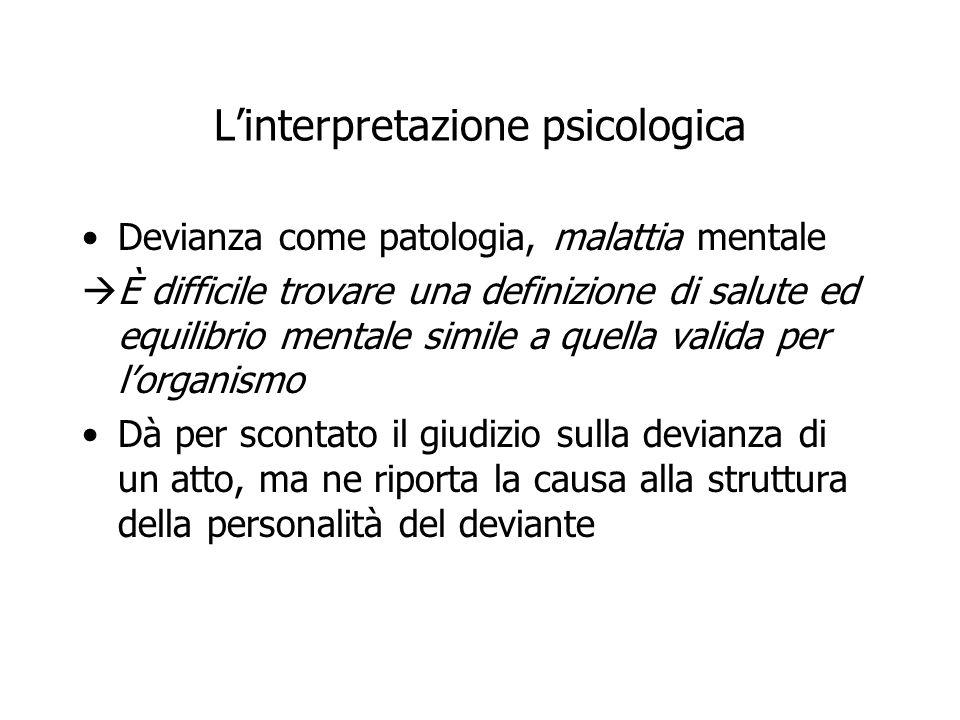 L'interpretazione psicologica Devianza come patologia, malattia mentale  È difficile trovare una definizione di salute ed equilibrio mentale simile a