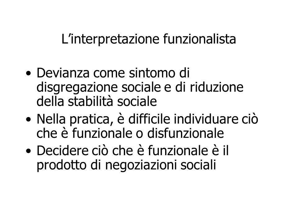 L'interpretazione funzionalista Devianza come sintomo di disgregazione sociale e di riduzione della stabilità sociale Nella pratica, è difficile indiv