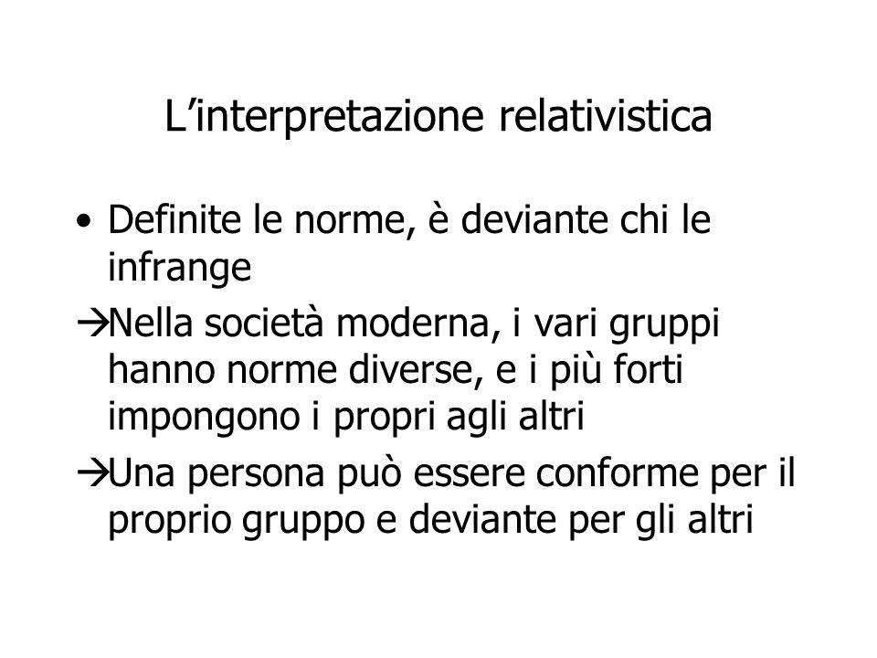L'interpretazione relativistica Definite le norme, è deviante chi le infrange  Nella società moderna, i vari gruppi hanno norme diverse, e i più fort