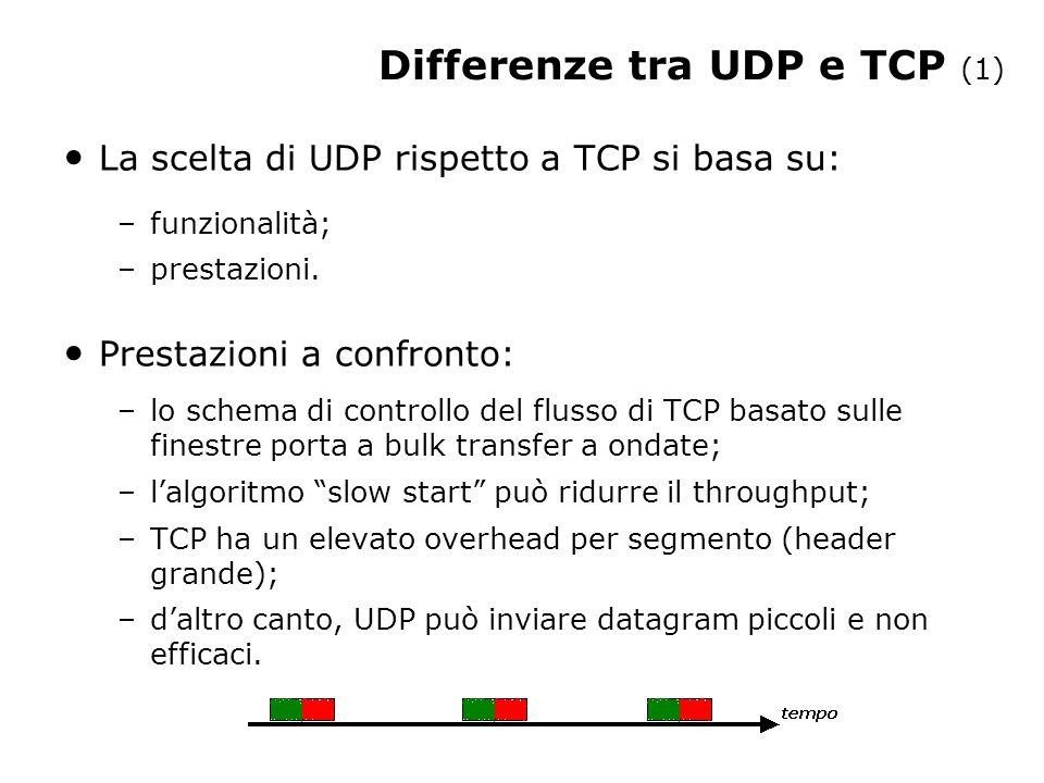 La scelta di UDP rispetto a TCP si basa su: –funzionalità; –prestazioni.