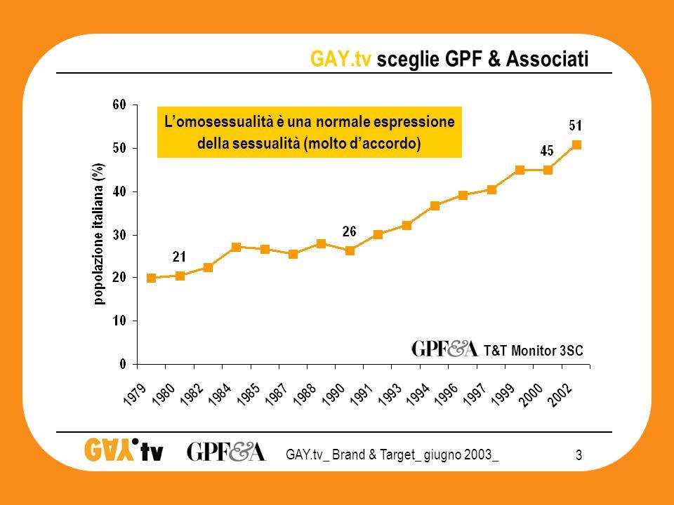 GAY.tv_ Brand & Target_ giugno 2003_ 14 GAY.tv POSIZIONAMENTO 2003 conoscitori PRIVATO CHIUSURA SOCIALE APERTURA  Conoscono GAY.Tv T&T Monitor 3SC