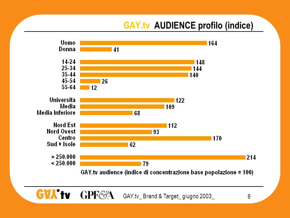 GAY.tv_ Brand & Target_ giugno 2003_ 17 GAY.tv POSIZIONAMENTO 2003 mezzi PRIVATO CHIUSURA SOCIALE APERTURA Tv Quotidiani Radio Periodici Cinema      T&T Monitor 3SC