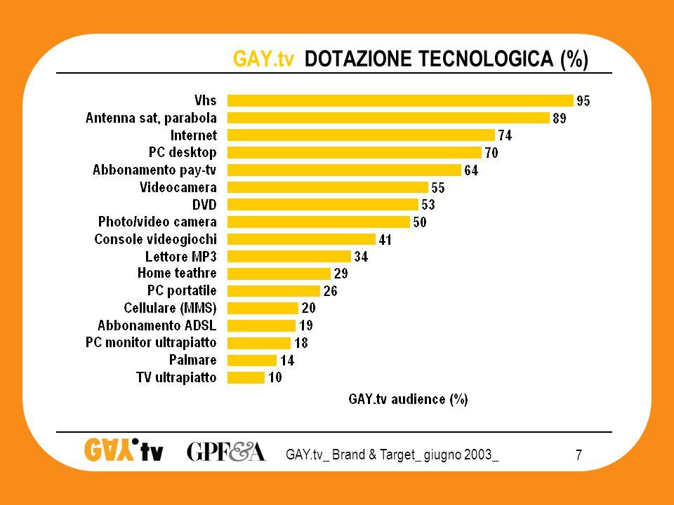 GAY.tv_ Brand & Target_ giugno 2003_ 18 GAY.tv POSIZIONAMENTO 2003 televisione PRIVATO CHIUSURA SOCIALE APERTURA Tv  Rai 1 Rai 2 Rai 3 Rete 4 Canale 5 La 7 MTV Italia 1         T&T Monitor 3SC