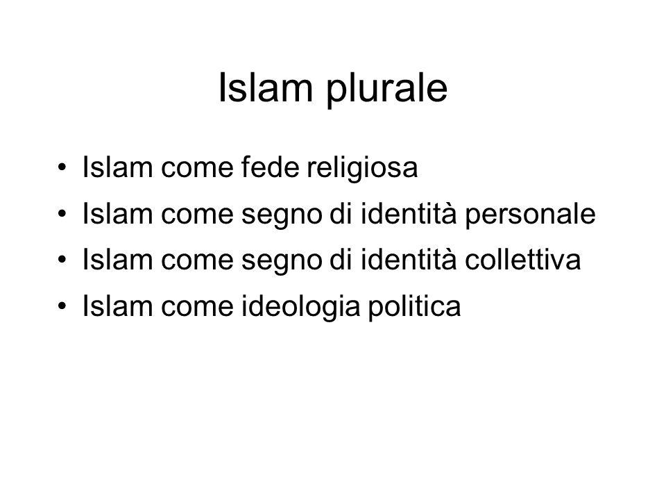 Islam plurale Islam come fede religiosa Islam come segno di identità personale Islam come segno di identità collettiva Islam come ideologia politica