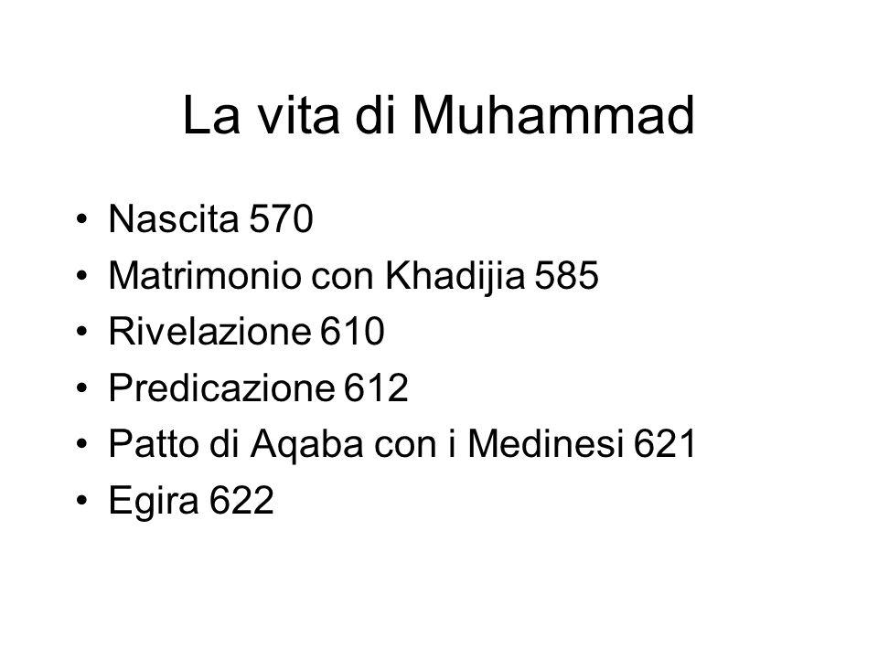 La vita di Muhammad Nascita 570 Matrimonio con Khadijia 585 Rivelazione 610 Predicazione 612 Patto di Aqaba con i Medinesi 621 Egira 622