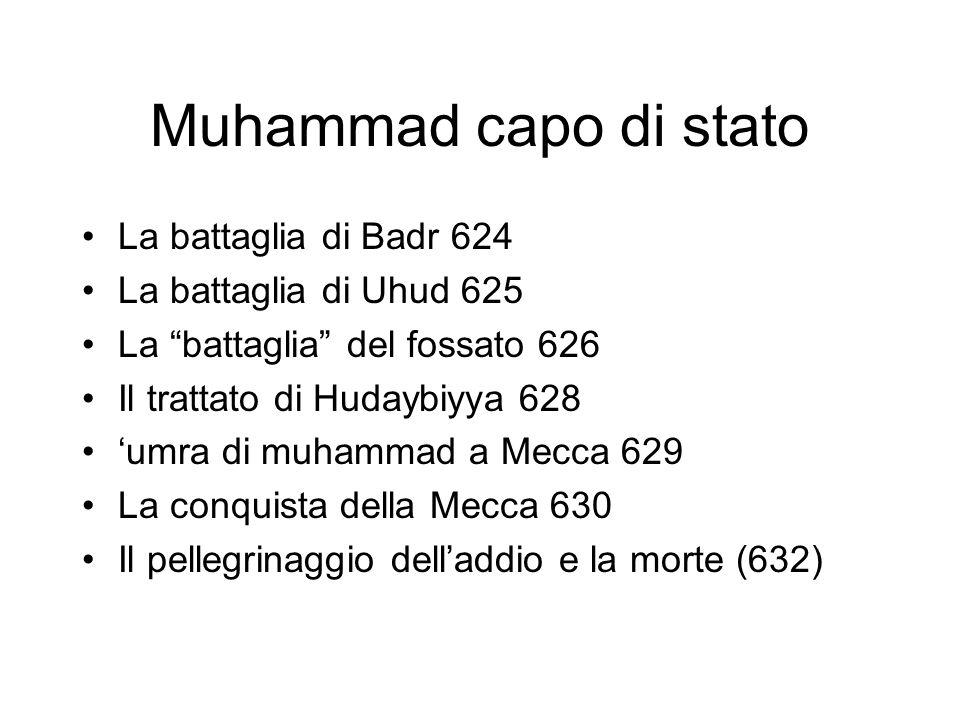 Muhammad capo di stato La battaglia di Badr 624 La battaglia di Uhud 625 La battaglia del fossato 626 Il trattato di Hudaybiyya 628 'umra di muhammad a Mecca 629 La conquista della Mecca 630 Il pellegrinaggio dell'addio e la morte (632)