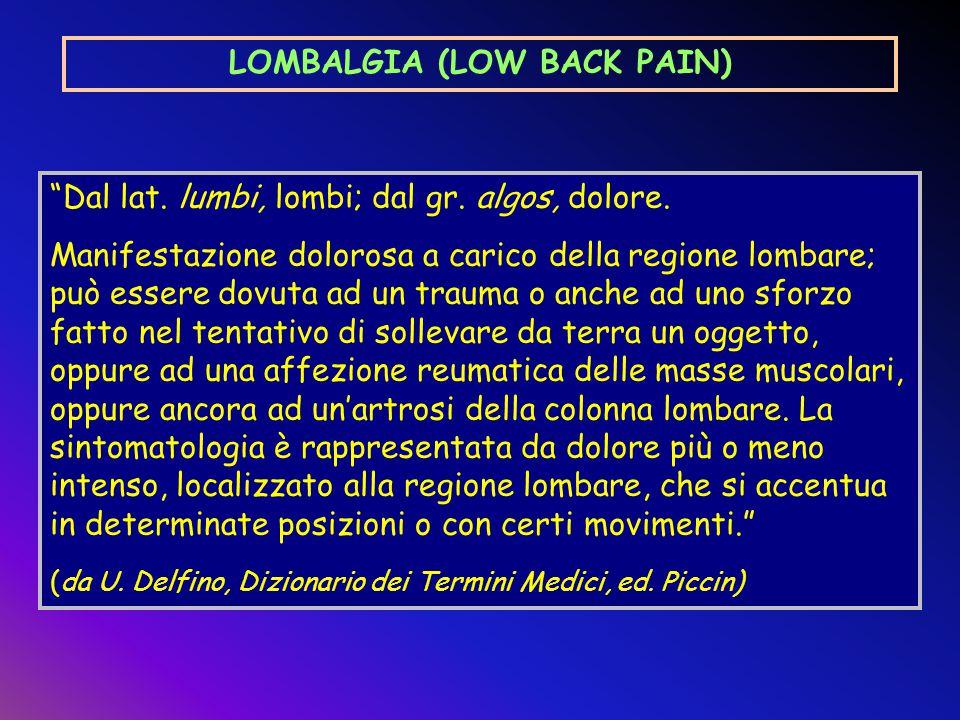 LOMBALGIA (LOW BACK PAIN) Affezione cronico-degenerativa della colonna vertebrale di frequente riscontro in molteplici settori produttivi dell'industria, dell'agricoltura e del terziario.