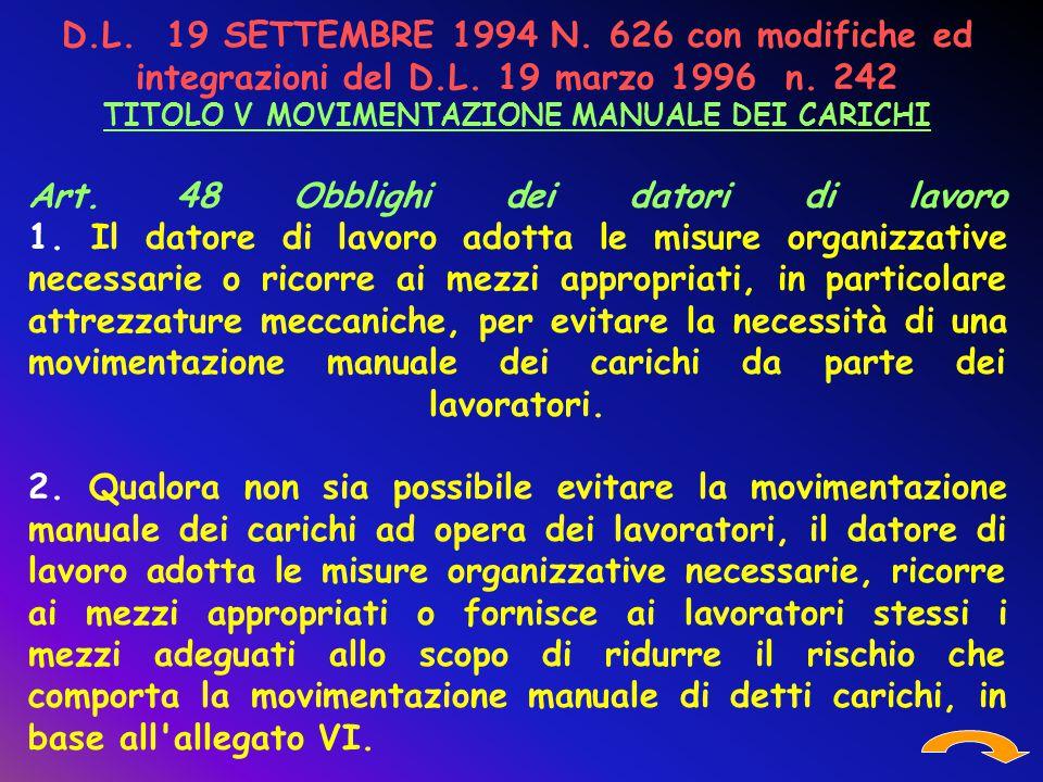 D.L. 19 SETTEMBRE 1994 N. 626 con modifiche ed integrazioni del D.L. 19 marzo 1996 n. 242 TITOLO V MOVIMENTAZIONE MANUALE DEI CARICHI Art. 48 Obblighi