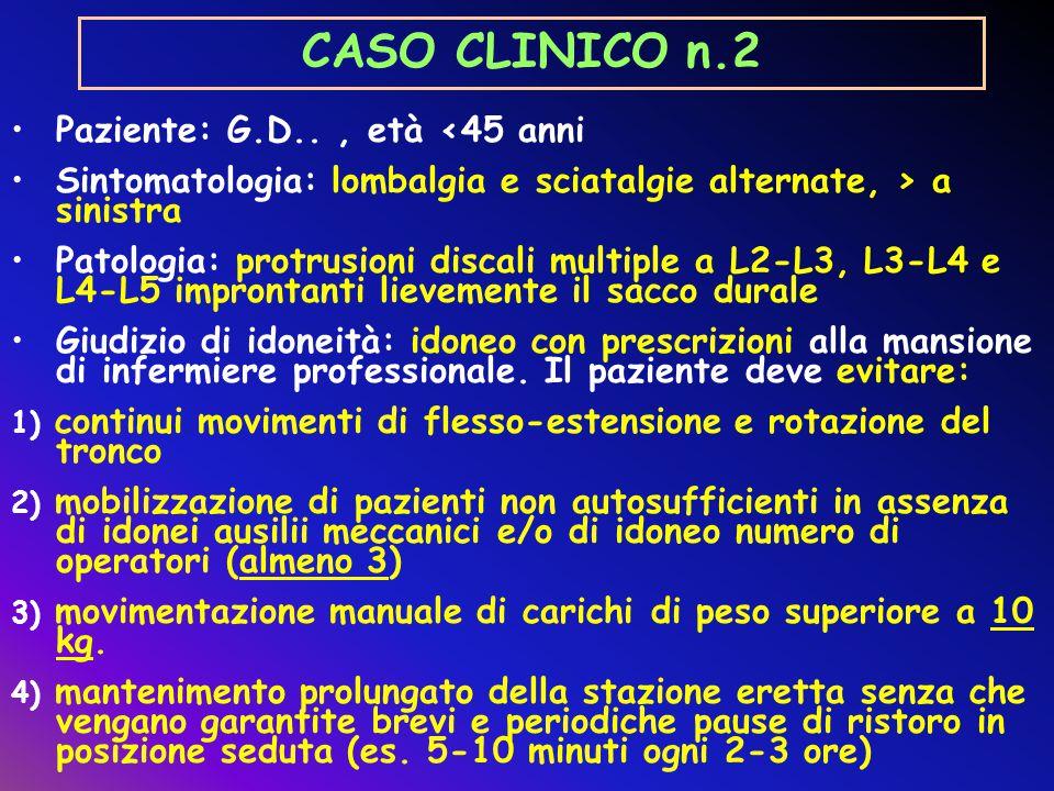 CASO CLINICO n.2 Paziente: G.D.., età <45 anni Sintomatologia: lombalgia e sciatalgie alternate, > a sinistra Patologia: protrusioni discali multiple