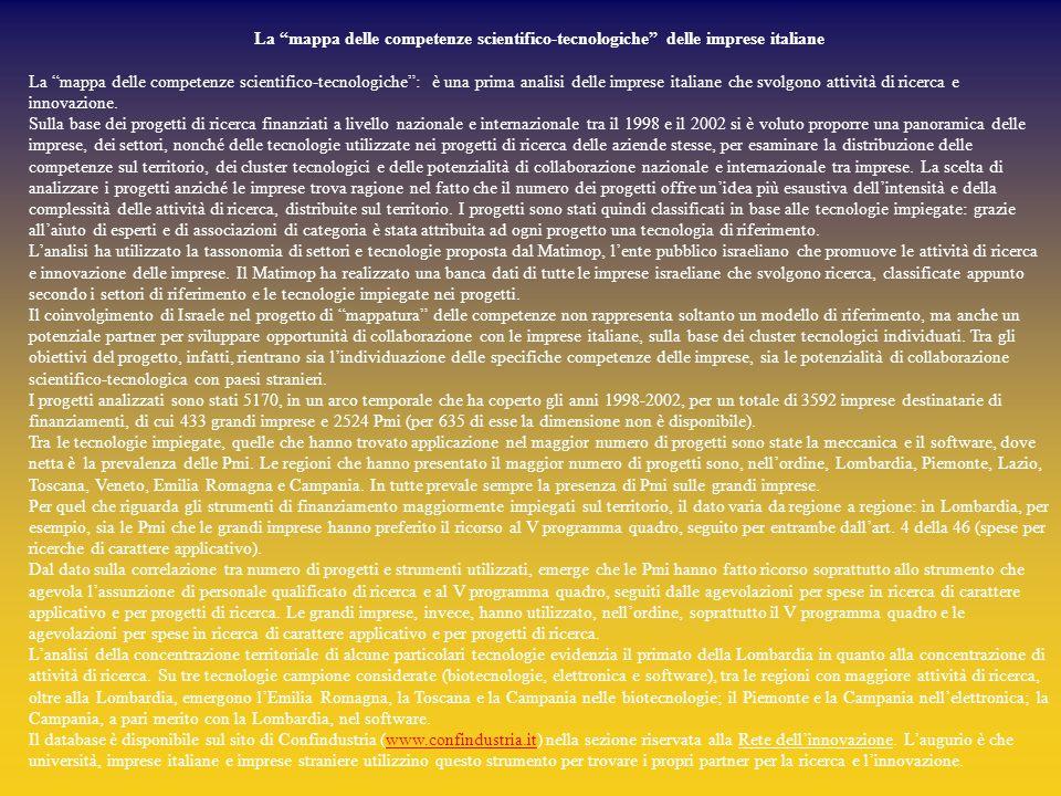 La mappa delle competenze scientifico-tecnologiche delle imprese italiane La mappa delle competenze scientifico-tecnologiche : è una prima analisi delle imprese italiane che svolgono attività di ricerca e innovazione.