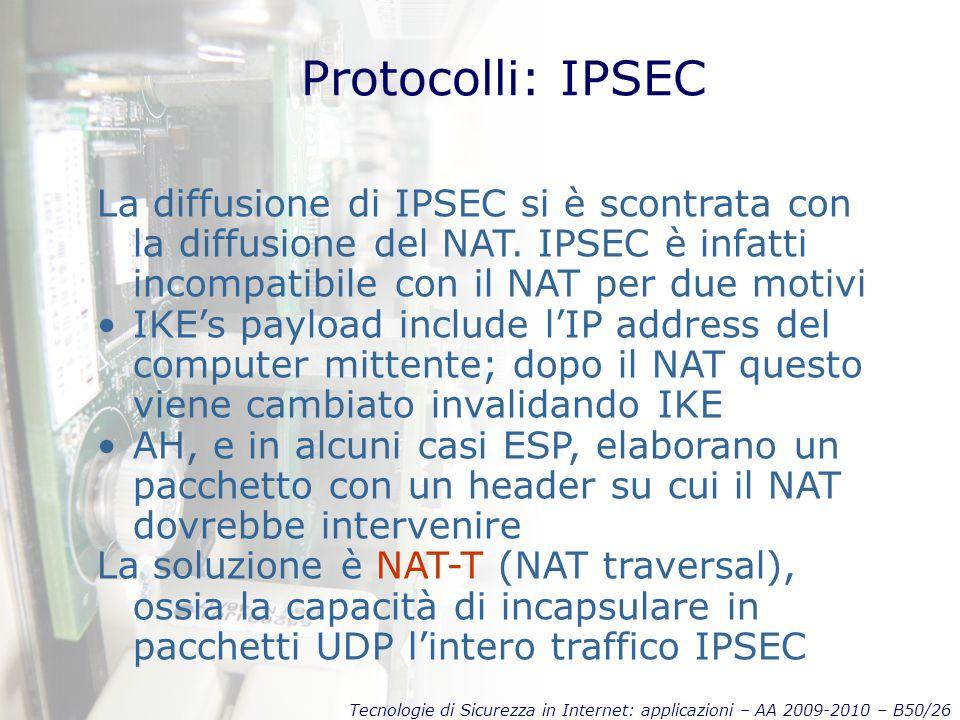 Tecnologie di Sicurezza in Internet: applicazioni – AA 2009-2010 – B50/26 Protocolli: IPSEC La diffusione di IPSEC si è scontrata con la diffusione de