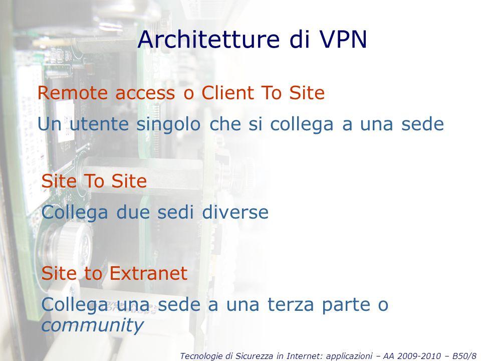 Tecnologie di Sicurezza in Internet: applicazioni – AA 2009-2010 – B50/8 Architetture di VPN Remote access o Client To Site Un utente singolo che si collega a una sede Site To Site Collega due sedi diverse Site to Extranet Collega una sede a una terza parte o community