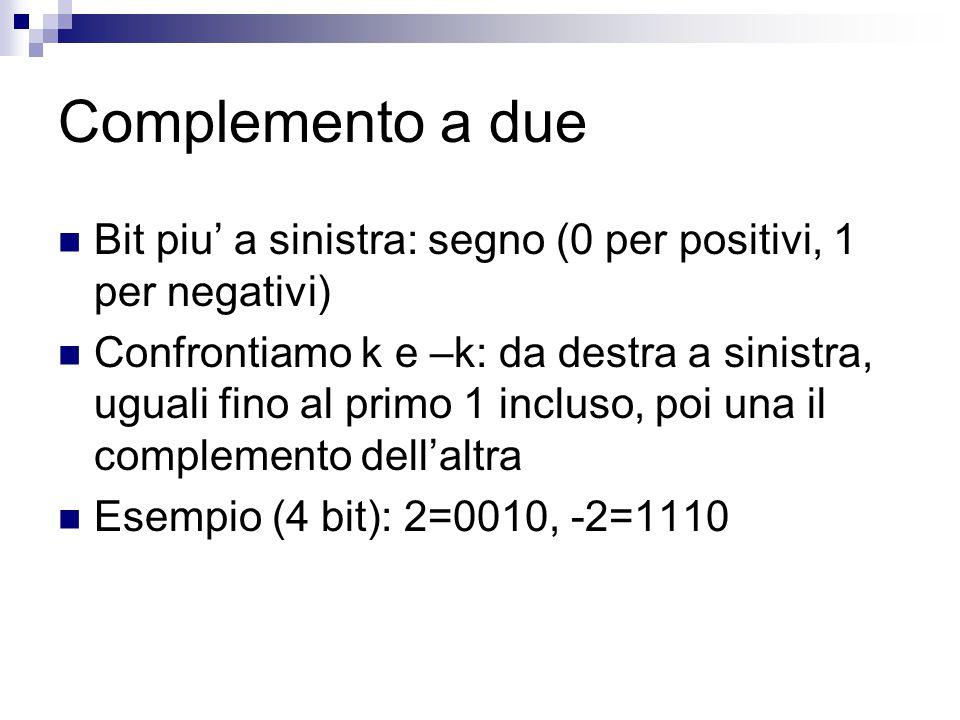 Complemento a due: decodifica Se bit di segno =0  positivo, altrimenti negativo Se positivo, basta leggere gli altri bit Se negativo, scrivere gli stessi bit da destra a sinistra fino al primo 1, poi complementare, e poi leggere Es.: 1010 e' negativo, rappresenta 110 (6), quindi -6