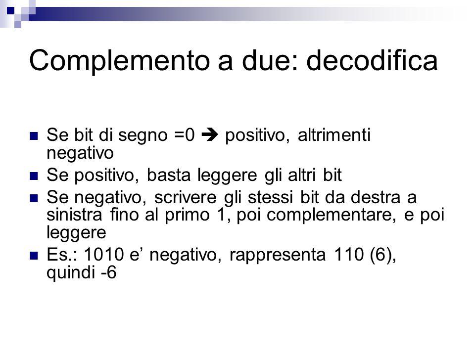 Complemento a due: decodifica Se bit di segno =0  positivo, altrimenti negativo Se positivo, basta leggere gli altri bit Se negativo, scrivere gli st
