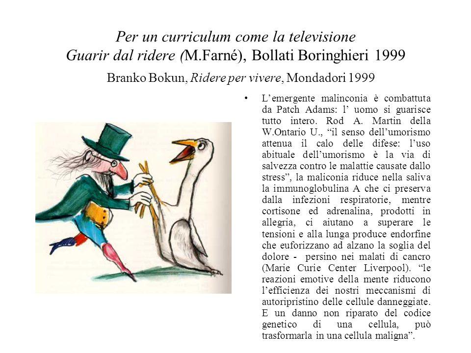 Per un curriculum come la televisione Guarir dal ridere (M.Farné), Bollati Boringhieri 1999 L'emergente malinconia è combattuta da Patch Adams: l' uomo si guarisce tutto intero.